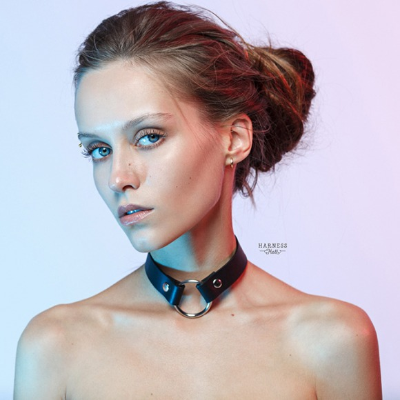 CH41 Classic leather choker with ring. The width 2 cm. фото 2