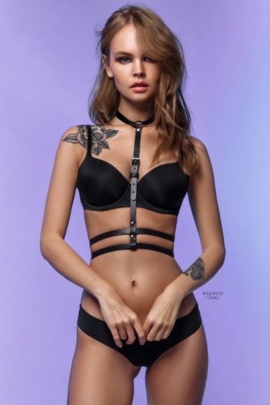 Classic harness with with a duble strap under the bust. фото 1
