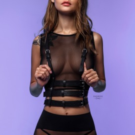S-110 Woman harness with three straps under bust level.