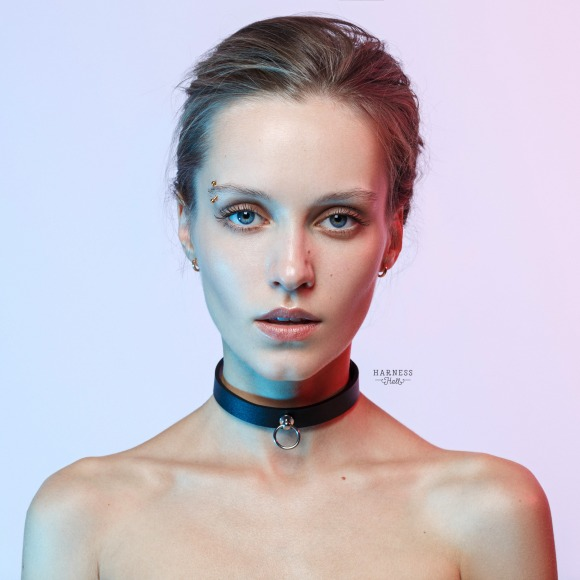 Leather choker whith ring.  фото 1
