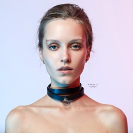 CH-19 Leather choker whith ring.