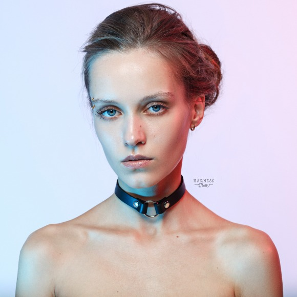 CH20 Classic leather choker with ring. The width 1,5 cm. фото 1