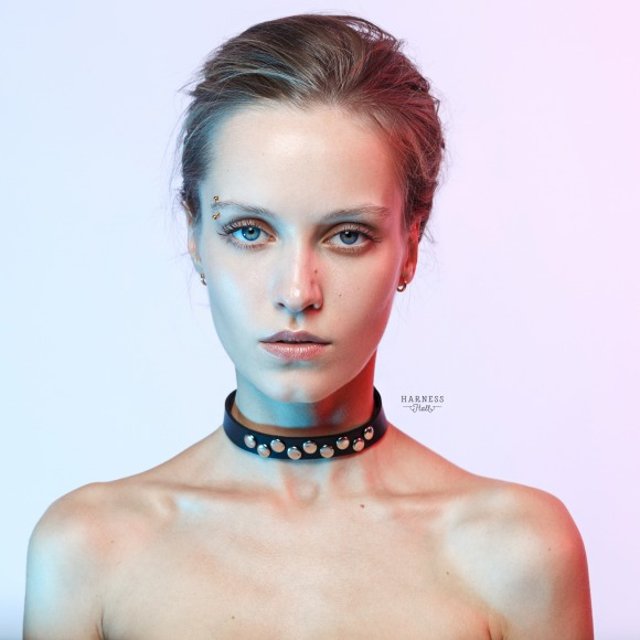 Leather classic choker with studs.  фото 1