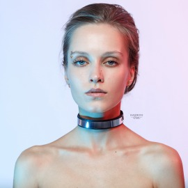CH-24 Classic leather choker with mirrored plastic insert.