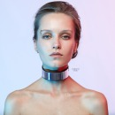 Leather choker with mirrored plastic insert.  фото 1