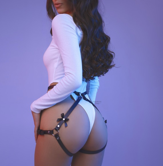 Straps on the buttocks with bows. фото 1