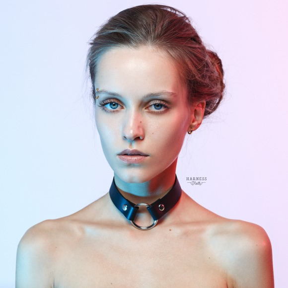 CH41 Classic leather choker with ring. The width 2 cm. фото 1